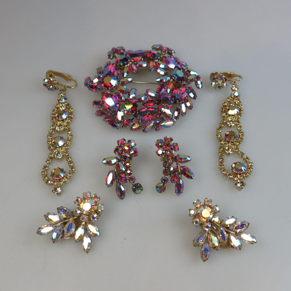 Sherman Gold Tone Metal Brooch And 3 Pairs Of Earrings
