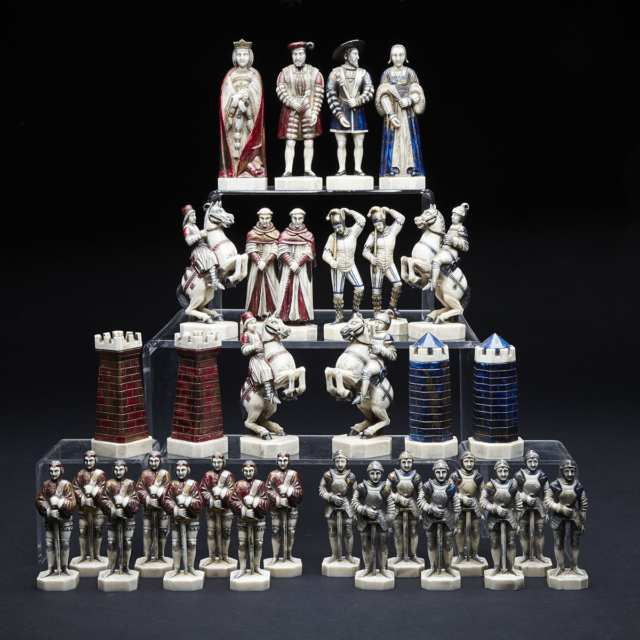 French Carved and Polychromed Ivory Figural 'Battle of Pavia' Chess Set
