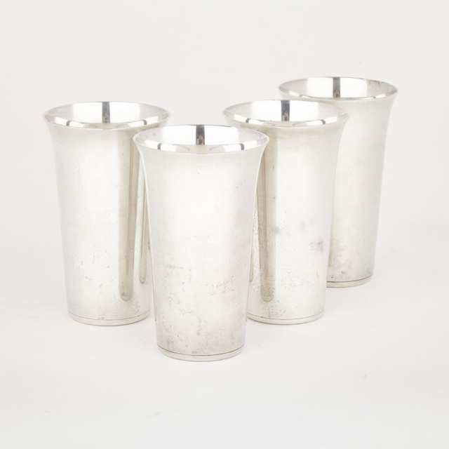 Four American Silver Mint Julep Cups, Randahl Shop, Chicago, Ill., mid-20th century
