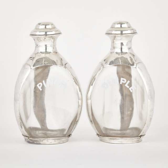 Pair of Mexican Silver Mounted Haig's Scotch Whiskey Bottles, 20th century