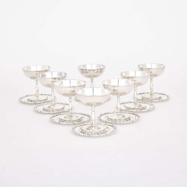 Set of Eight Mexican Silver Champagne or Sherbet Coupes and Stands, mid-20th century