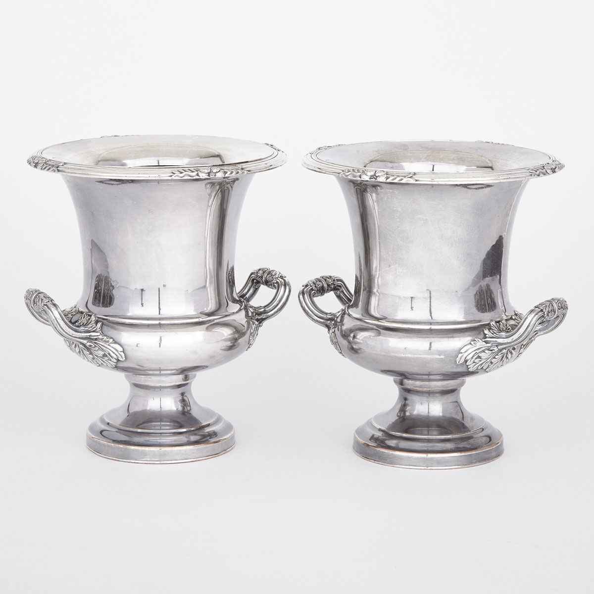 Pair of Old Sheffield Plate Wine Coolers & Liners, Waterhouse, Hatfield & Co., c.1835