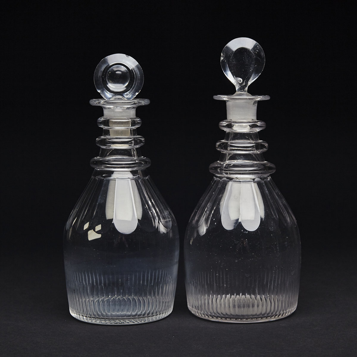 Pair of English Cut Glass Decanters, c.1820
