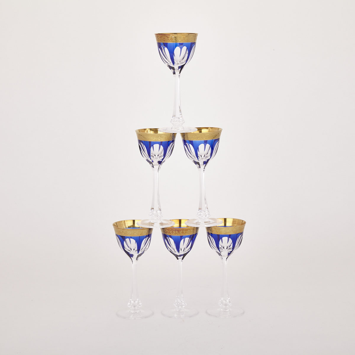 Six Moser Blue Overlaid, Cut, Etched and Gilt Glass Wine Goblets, 20th century