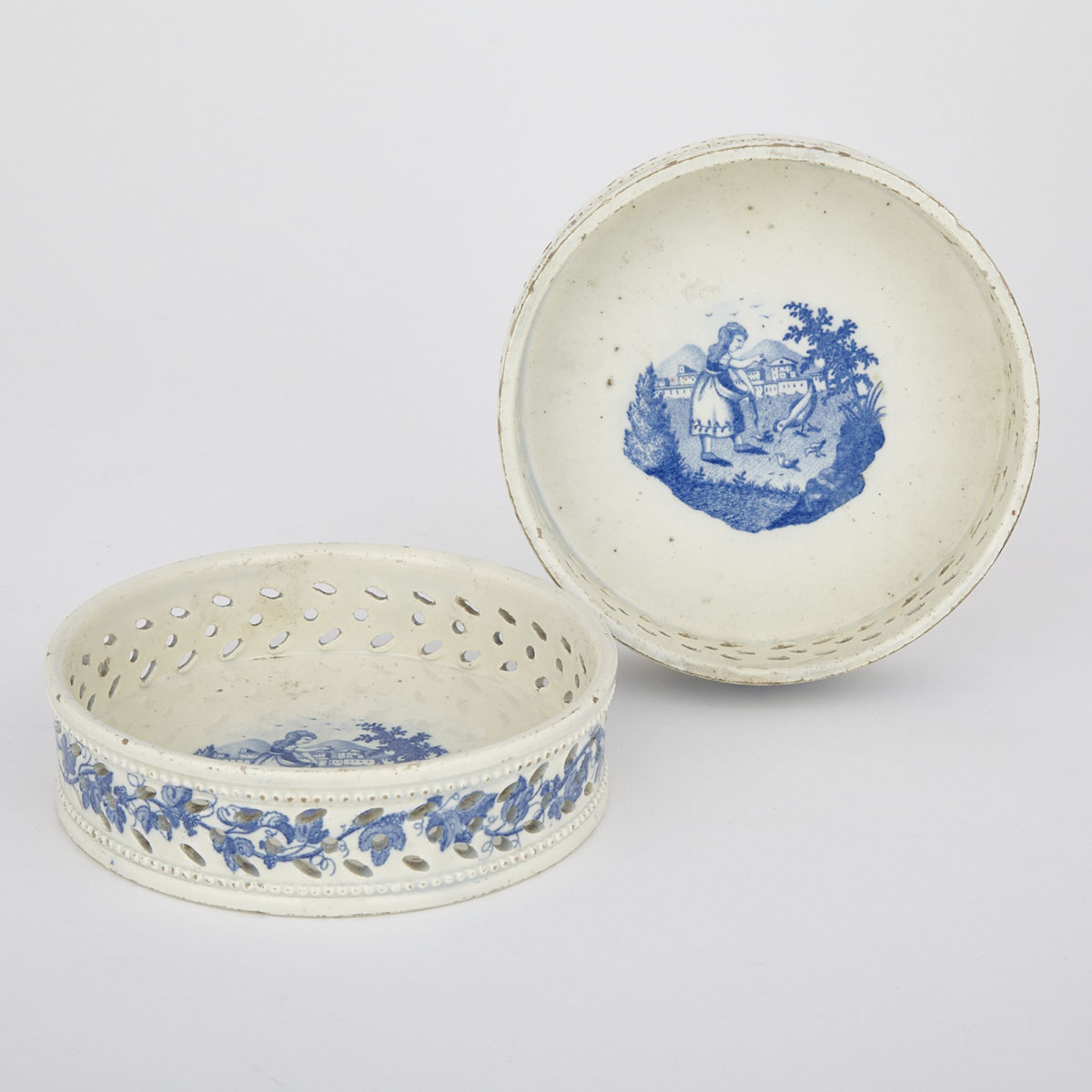 Pair of English Pearlware Pierced Wine Coasters, c.1800