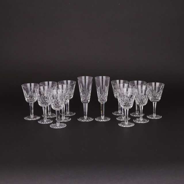 Twelve Waterford 'Lismore' Pattern Cut Glass Wine Goblets and Two Champagne Flutes, 20th century