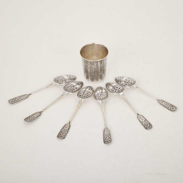 Russian Silver Small Beaker, Moscow, 1886 and Six Nielloed Tea Spoons, c.1896-1908