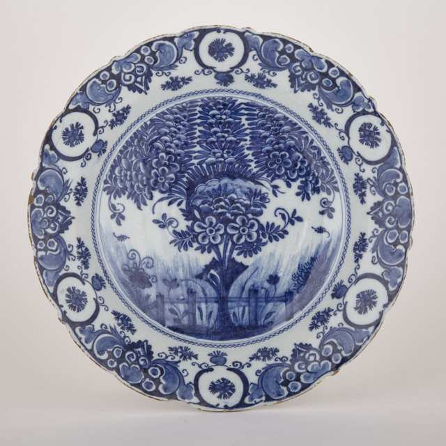 Dutch Delft Blue and White Tea Tree Charger, 18th century