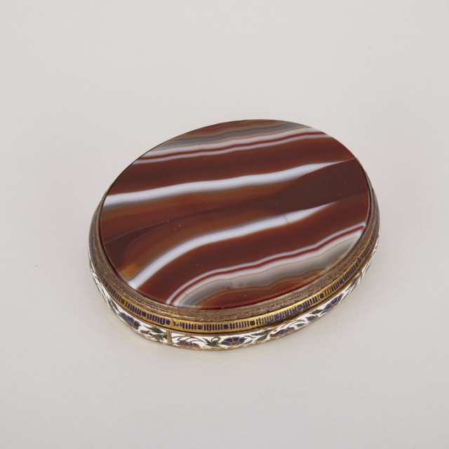 Oval Agate and Champleve Enamelled Box, early 20th century