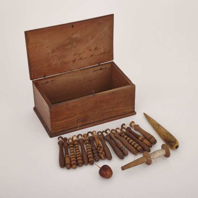 English Walnut Lace Making Box and Accessories, c.1825