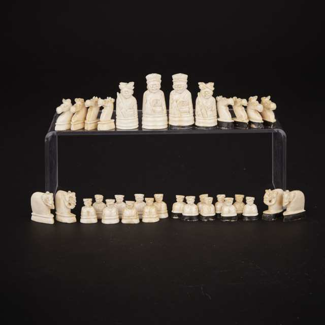 Small Indian Carved Ivory Figural Chess Set, 19th century