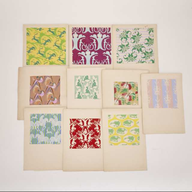 Group of Ten Art Deco Woodblock Wallpaper and Fabric Patterns each signed Andréa Gerbaud, early 20th century
