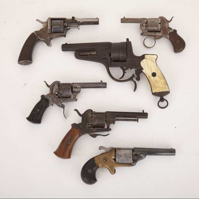 Six Continental Pin Fire Revolvers, 19th century