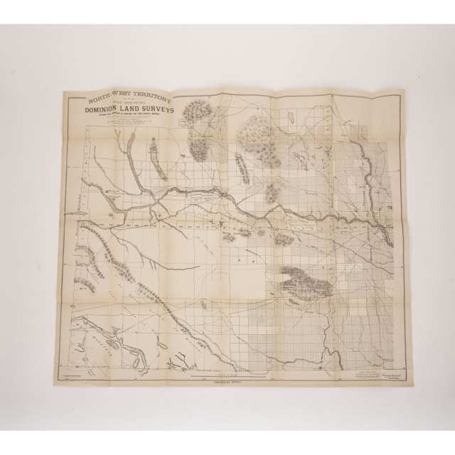 Two Canadian Linen Backed Maps: General Map of Part of the North-West Territory and of Manitoba, and North-West Territory Map Shewing Dominion Land Surveys Between West Boundary of Manitoba and Third Principal Meridian