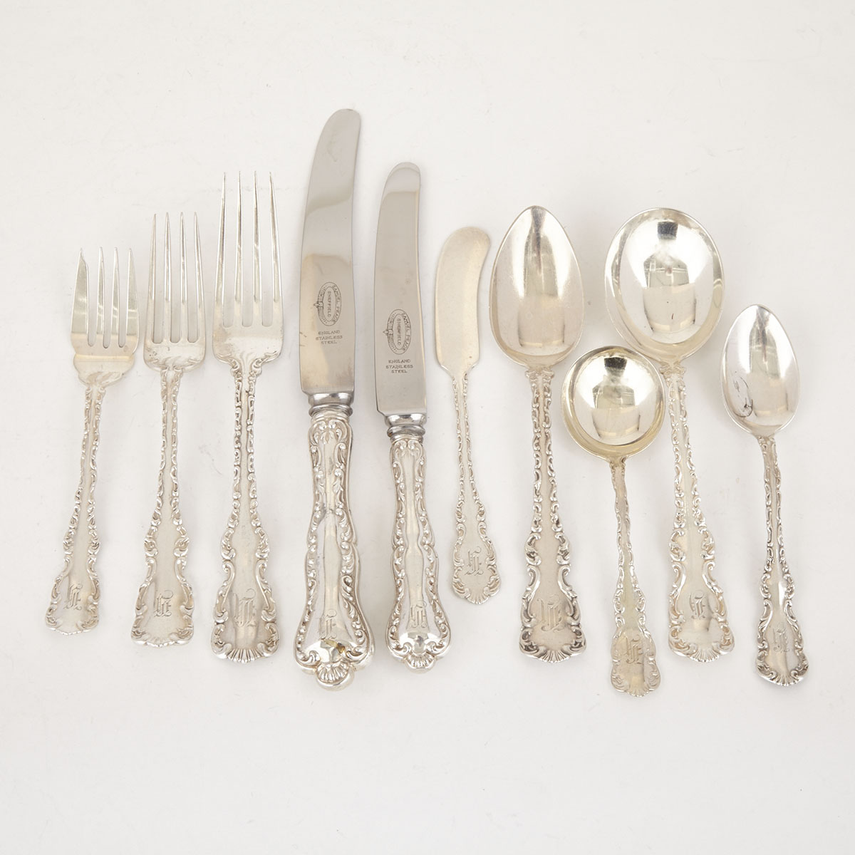 Canadian Silver 'Louis XV' Pattern Flatware Service, Ryrie Bros. and Roden Bros., Toronto, Ont., early 20th century