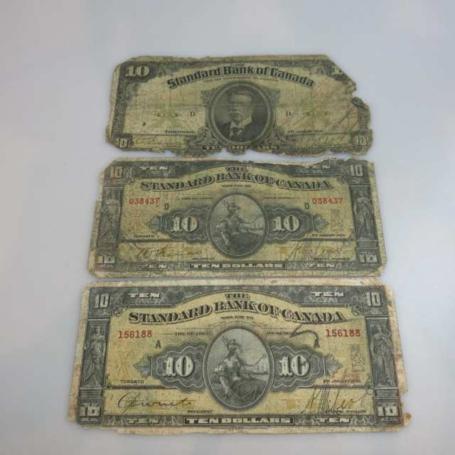 Three Standard Bank Of Canada Bank Notes