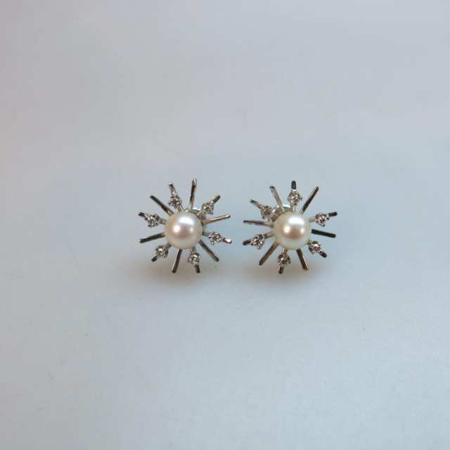 Pair Of 10k White Gold Button Earrings