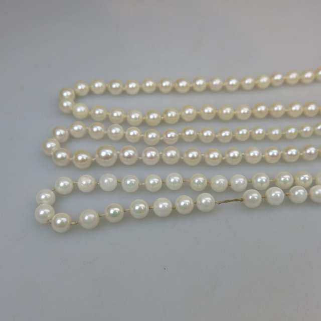 Three Single Strand Cultured Pearl Necklaces And A Bracelet