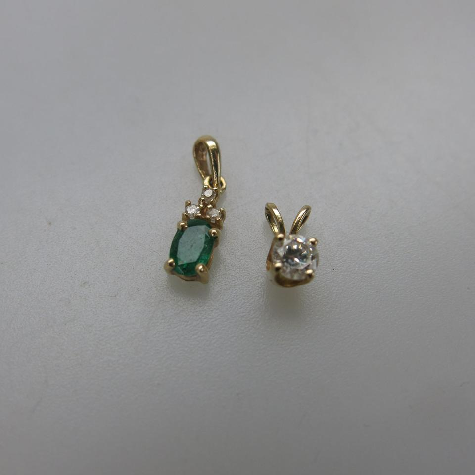 2 x Small 14k Yellow Gold Pendants