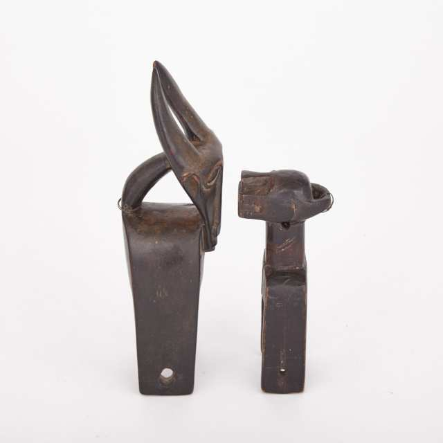Baule Carved Wood Antelope Heddle Pulley together with a Zoomorphic Carved Wood Heddle Pulley, former West Africa, latter Africa, both 20th century