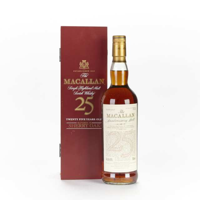 MACALLAN 25 YEAR OLD SCOTCH WHISKY SHERRY OAK CASK