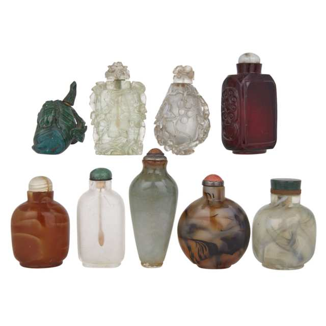 Group of Nine Snuff Bottles, Republic Period