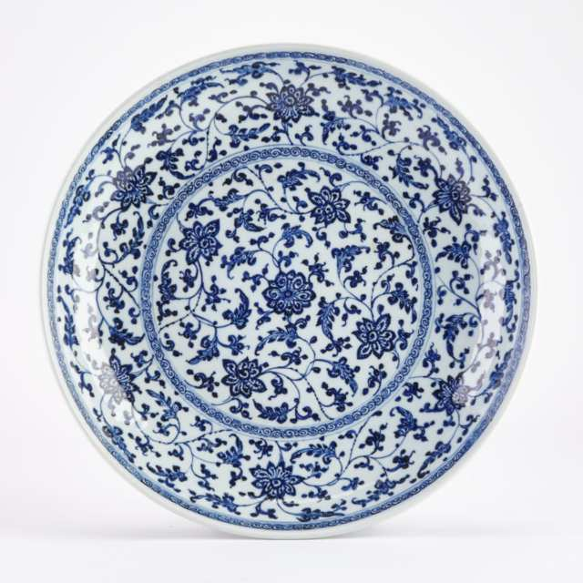 A Blue and White Ming-Style Dish, Qing Dynasty Qianlong to Daoguang Period, 18TH/19TH Century