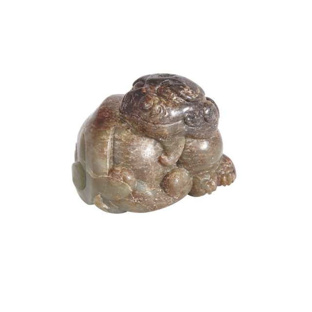 A Recumbent Jade Mythical Beast, Ming Dynasty or Earlier