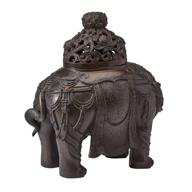 A Very Rare Gemstones Inlaid 'Elephant' Bronze Incense Burner, Late Ming Dynasty, 16th/17th Century