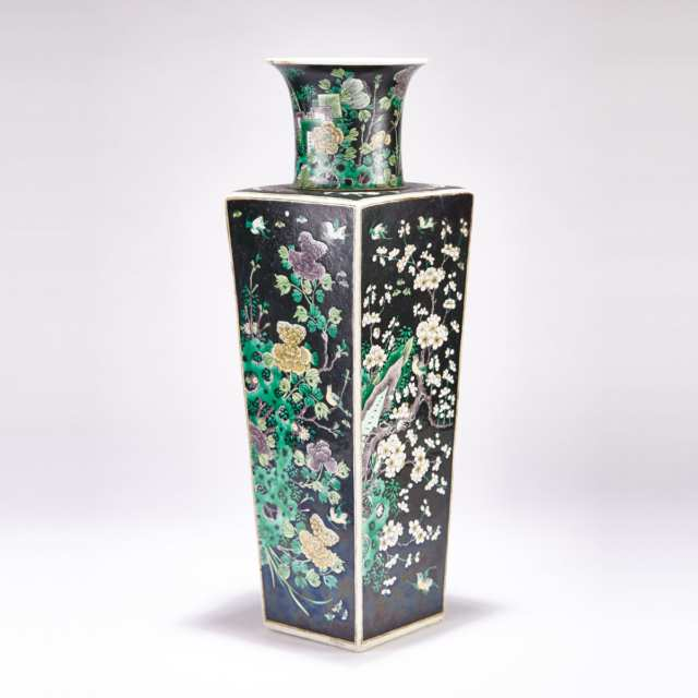 A Large Famille Noire 'Four Seasons' Porcelain Vase, Chenghua Mark, 19th Century or Earlier
