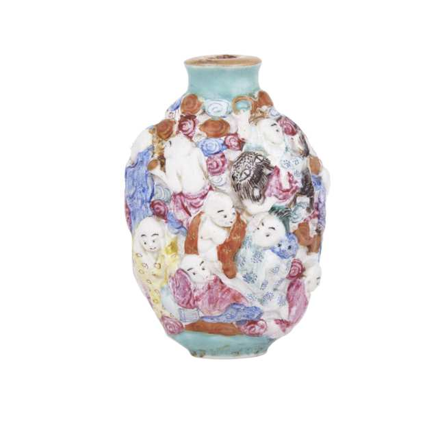 A Famille Rose Molded Porcelain Snuff Bottle, Qianlong Mark and Late 19th Century