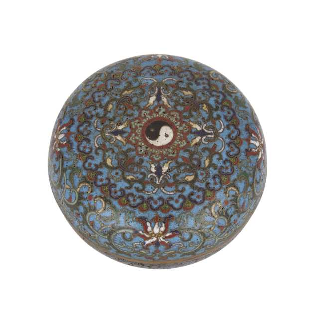 Cloisonné Circular Taichi Box, Early 20th Century