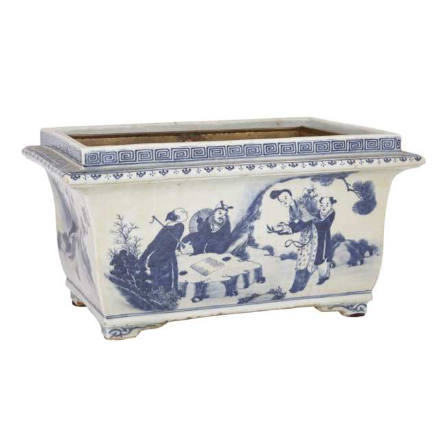 A Rectangular Blue and White Figural Planter, 19th Century
