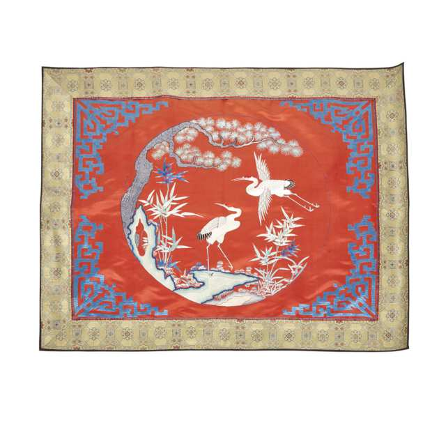 Red Ground Silk Embroidery with Cranes, 20th Century