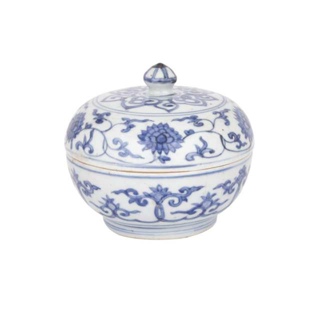 Blue and White Box and Cover, Late Ming Dynasty