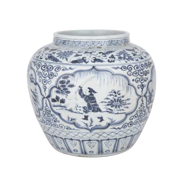 A Blue and White Figural Jar, Ming Dynasty or Later