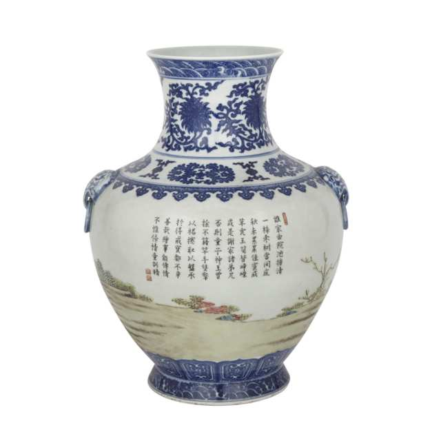 Blue and White Famille Rose 'Hu' Vase, Mid-20th Century