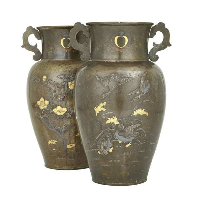 A Massive Pair of Japanese Bronze Inlaid Vases, Meiji Period (1868-1912)