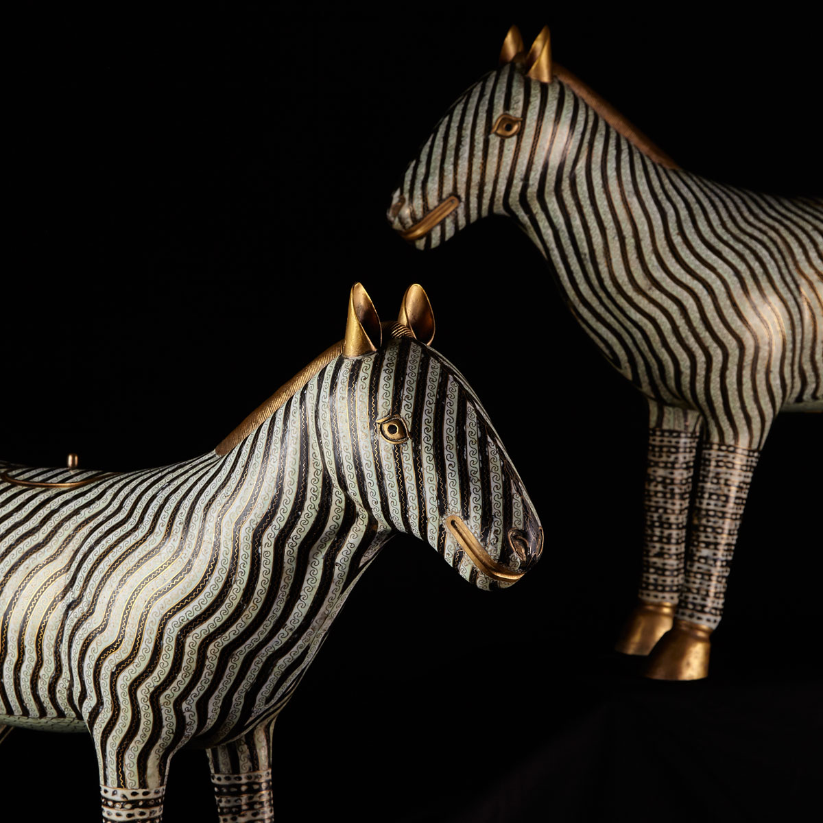 A Rare and Impressive Pair of Cloisonné  Zebras, Late Qing Dynasty