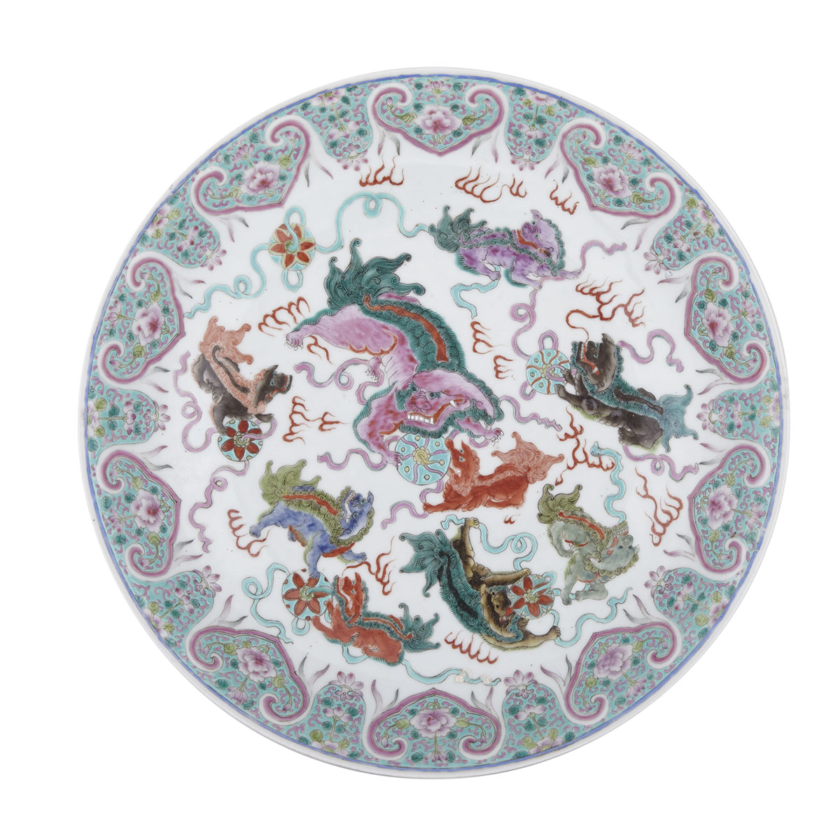 Famille Rose Lion Charger, Qianlong Mark and Republic Period