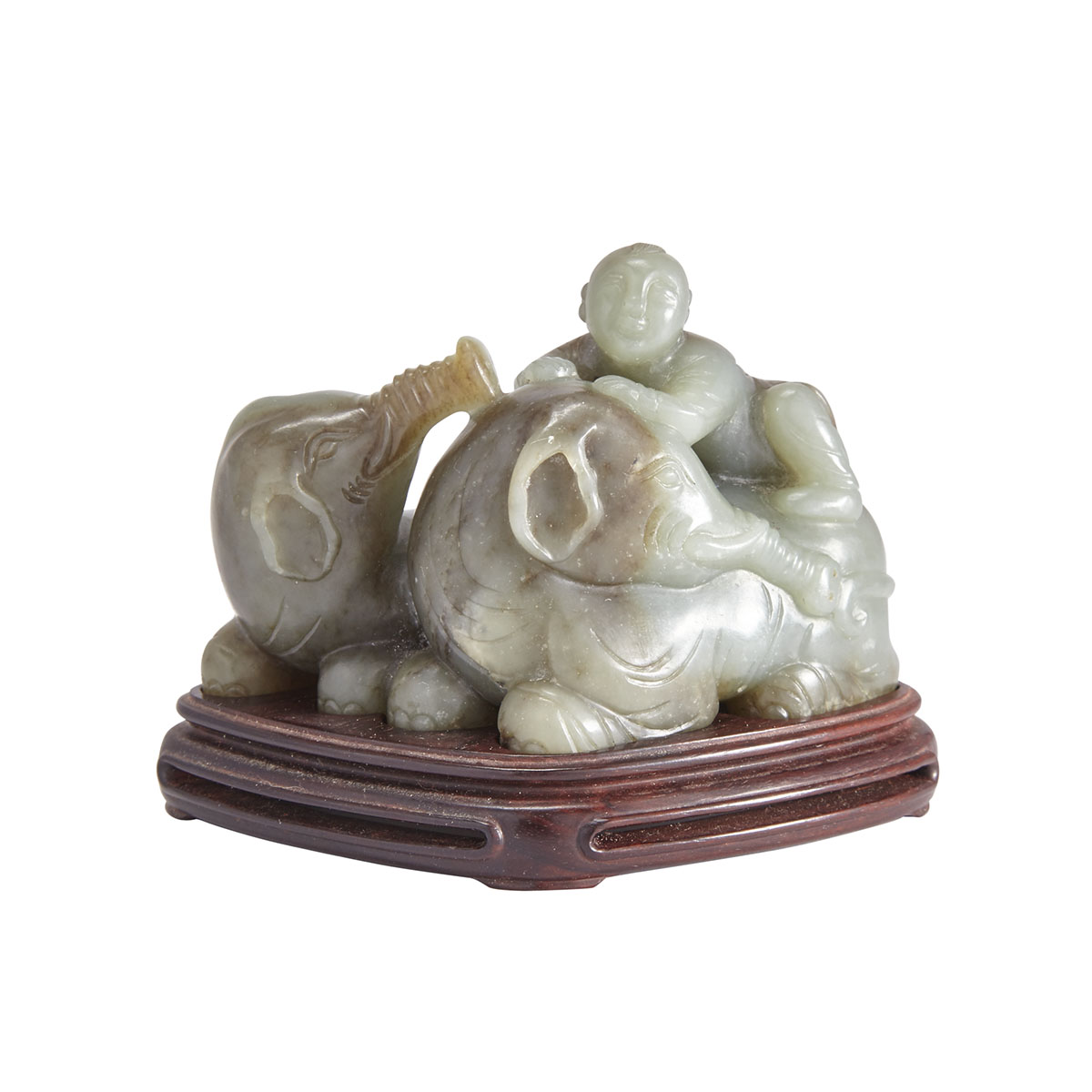 A Jade Carving of Boy and Elephants with a Zitan Stand, Qing Dynasty