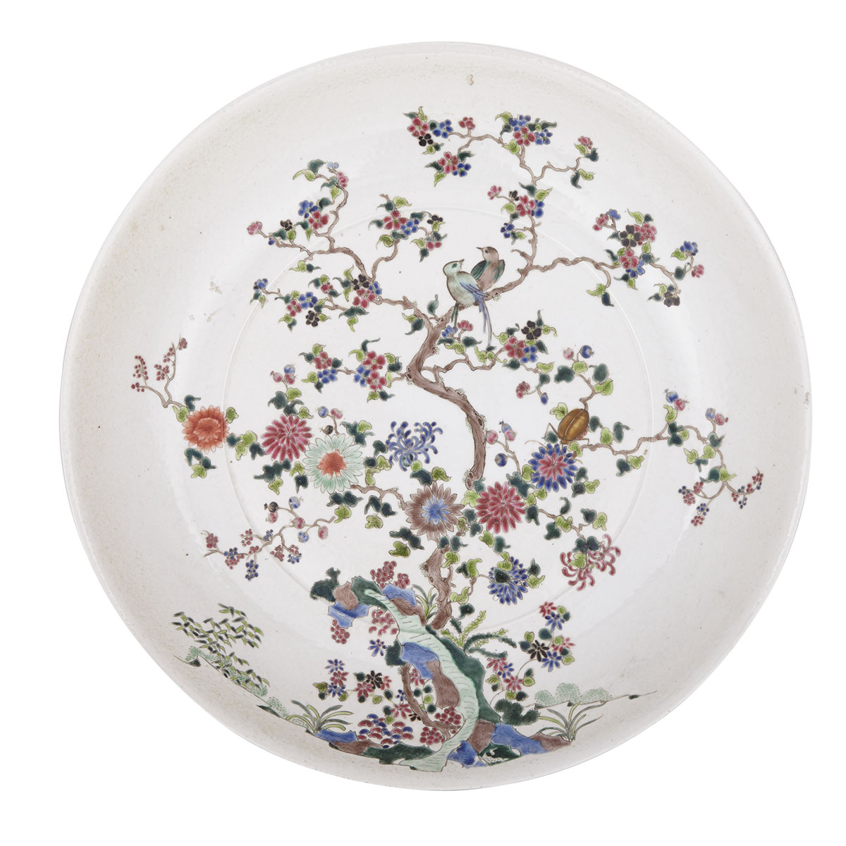 A Massive Famille Rose Charger, Kangxi Mark and 19th Century