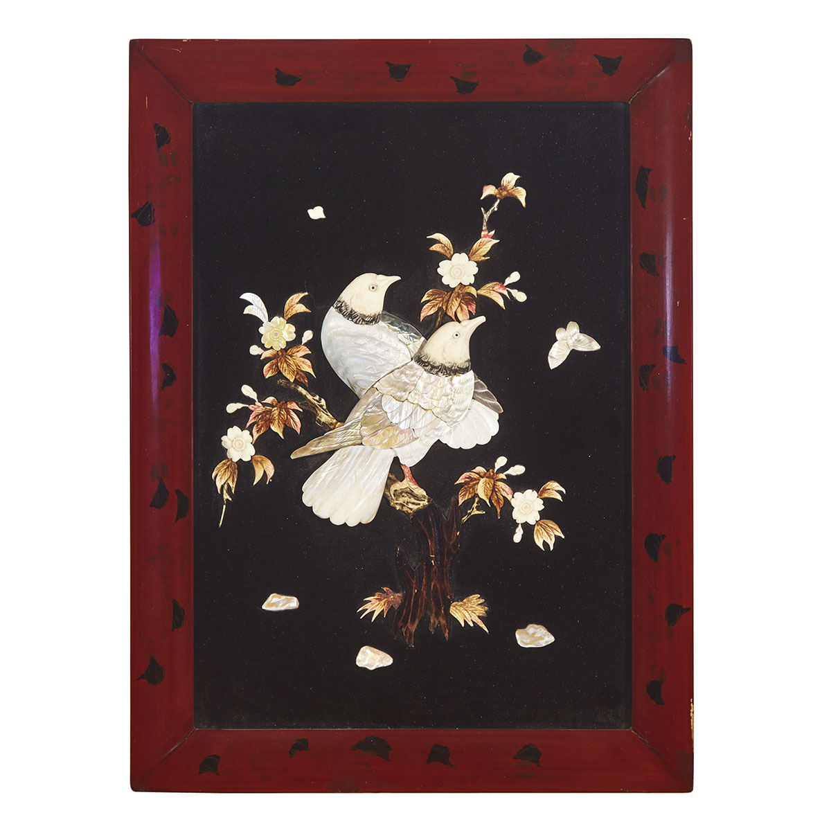 An Ivory and Mother-of-Pearl Inlaid Lacquered Panel, First-Half of 20th Century