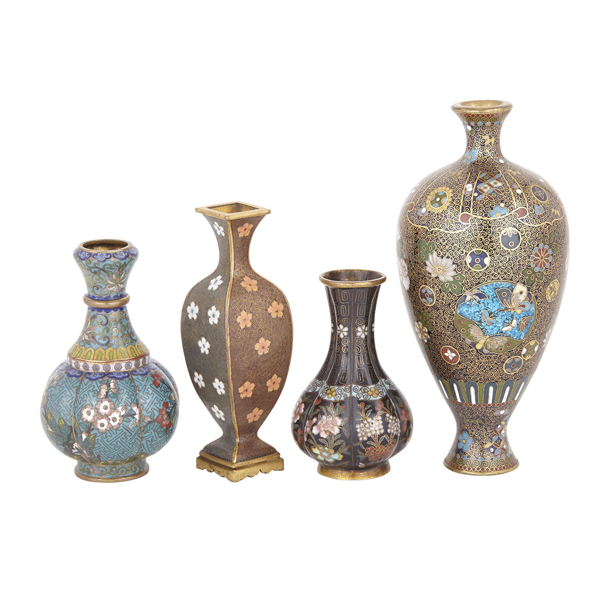 Group of Four Cloisonné Miniature Vases, Early 20th Century