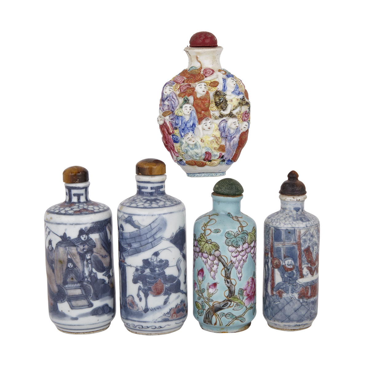 Group of Five Porcelain Snuff Bottles, 19th/20th Century