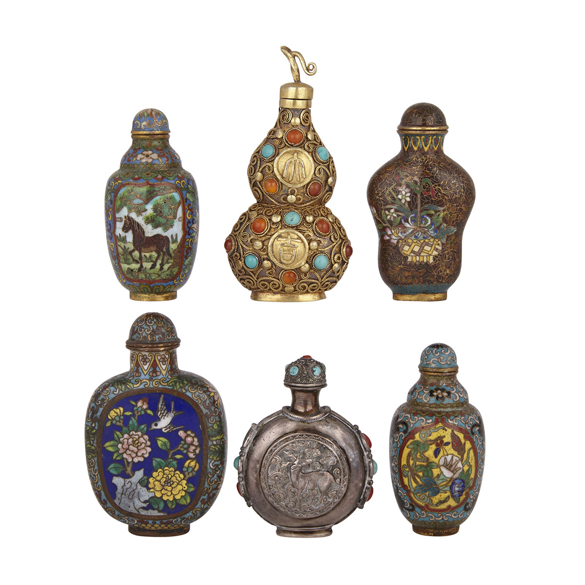 Group of Six Snuff Bottles, 19th to 20th Century
