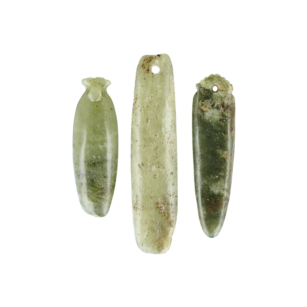 A Set of Three Ritual Jade Bars, Hongshan Culture, Neolithic Period or Later