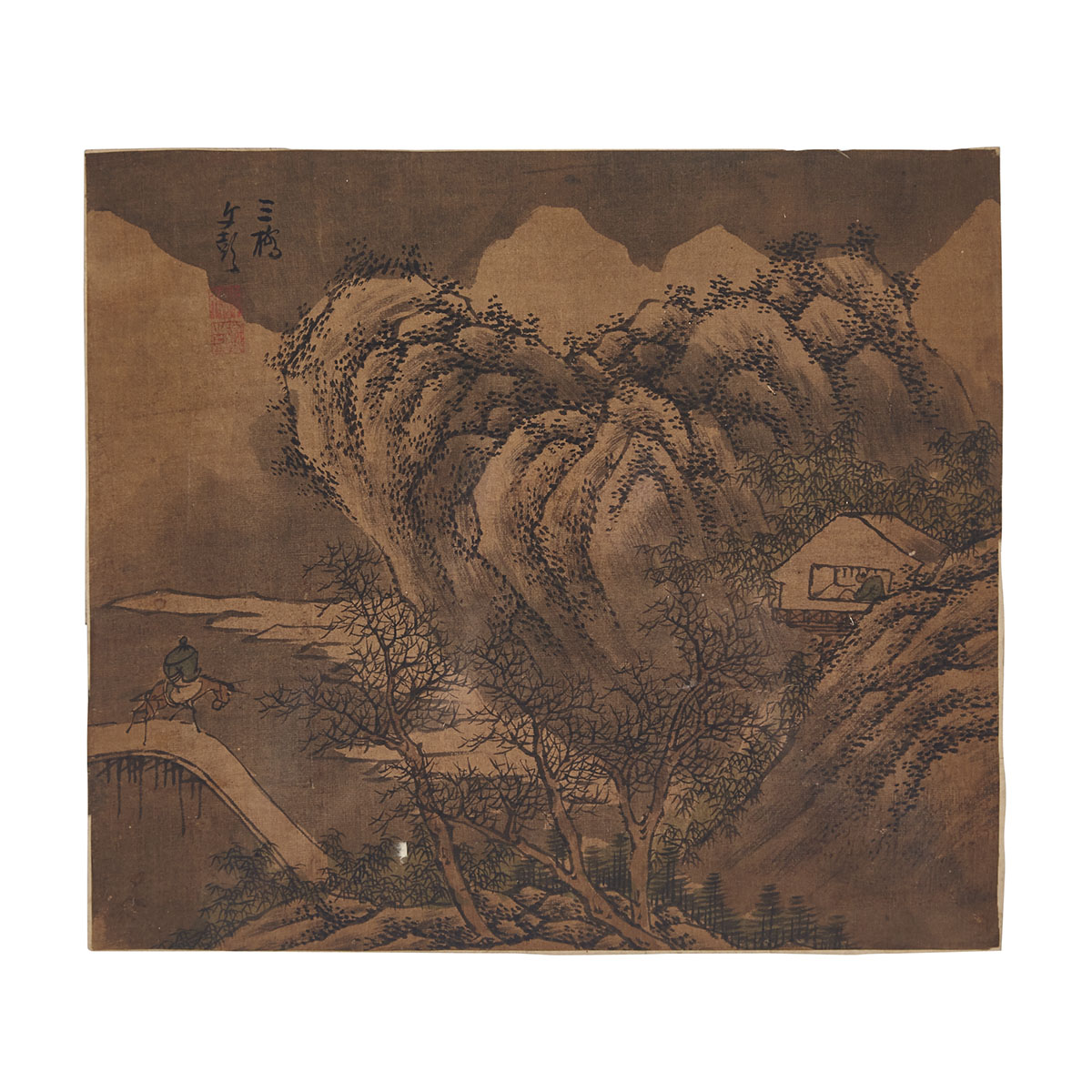 Chinese Painting Fragments, Li Tang(1066-1150)and Wen Peng  (1498-1573), Possibly Song to Ming Dynasty
