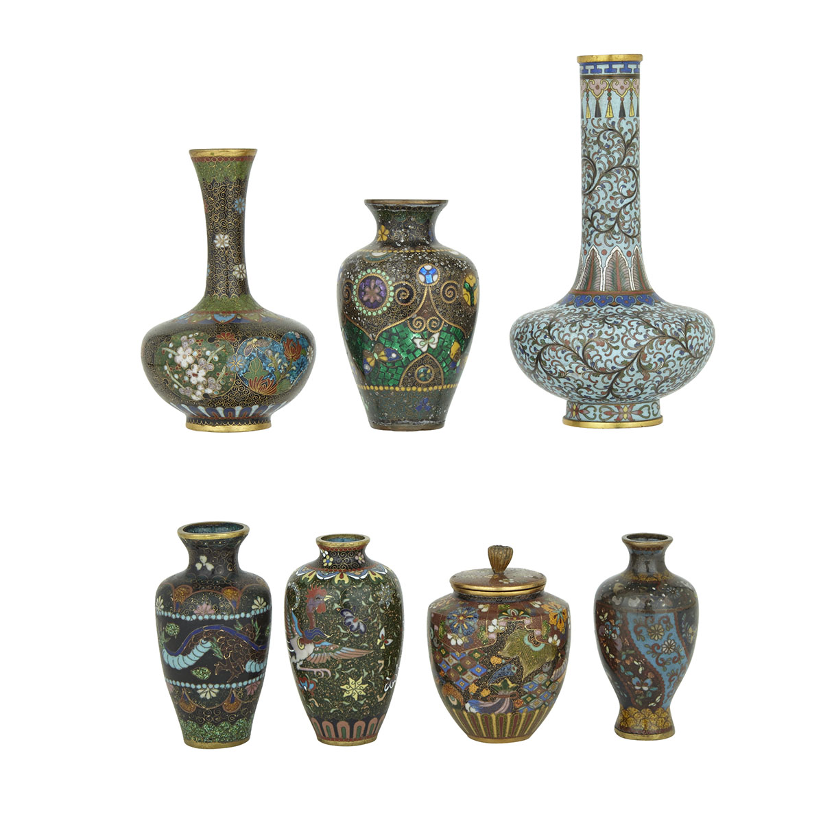 Group of Seven Japanese Cloisonné Vases, Early 20th Century
