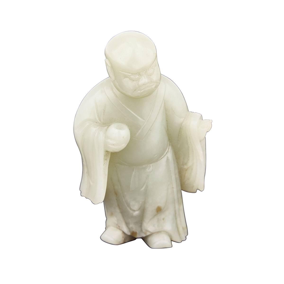 A Rare Carved Celadon White Jade Figure of Lohan, Qing Dynasty, 19th Century
